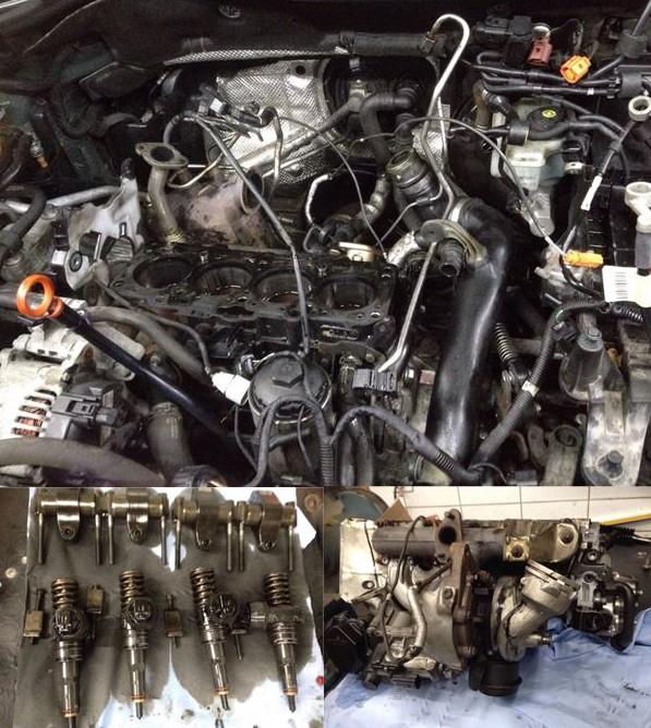 Operation am offenen Herzen bei einem VW Golf 5 1.9 TDI: Zylinderkopf und auch die Nockenwelle werden ersetzt, da diese rundgelaufen ist und die korrekte Einspritzung nicht mehr gewährleistet war.